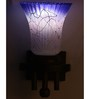 Lime Light White & Blue Glass & Wood Wall Lamp