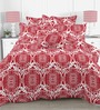 Linens Red & White Cotton Abstract Patterns 110 x 90 Inch Bed Sheet (with pillow covers)