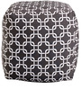 Links Cotton Printed Pouffe in Black & White Colour by Purplewood