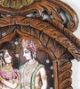 Little India Brown Wooden Radha Krishna Playing Flute Jharokha Gift