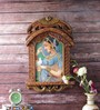 Little India Brown Wooden Rajasthani Princess with Pigeon Jharokha Painting