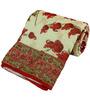 Little India Red & White Nature & Florals Cotton Single Size Quilt 1 Pc