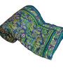 Little India Blues Nature & Florals Cotton Queen Size Quilt 1 Pc