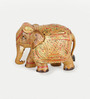 Little India Multicolour Wooden Hand Carved Painted Elephant Handicraft