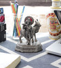 Little India Silver Metal Antique White Lord Krishna with Cow Idol