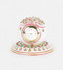 Little India White Marble Handmade Gold Painted Round Table Clock