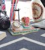 Little India White Marble Meenakari Ganesha Table Clock with Chowki