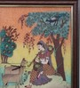 Little India Wooden 9 x 0.5 x 13 Inch Meera Playing Sitar N Forest Gemstone Framed Painting