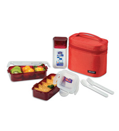 Lock&Lock Red Plastic 6-piece Lunch Box Set