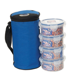 Lock N Lock Brunch Extra Large 4 Container Set With Blue Bag