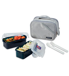 Lock&Lock Square 2 Pcs Lunch Box Set With Grey Bag