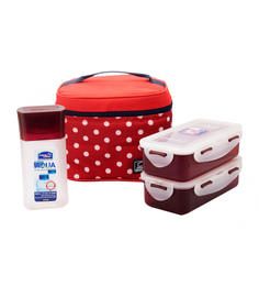 Lock&Lock Red Polypropylene Lunch Box Set With Polka Bag