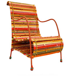 Love Chair in Shandes of Tangerine by Sahil Sarthak Designs