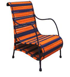 Love Chair in Tangerine & Indigo Stripes by Sahil Sarthak Designs