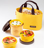 Lock&Lock Bento Multi Round Lunch Box Set With 3 Containers & Small Bag - Yellow