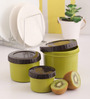 Lock&Lock Green and Brown Plastic Twist Round Container - Set of 3