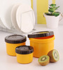 Lock&Lock Yellow and Brown Plastic Twist Round Container - Set of 3