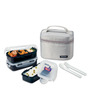 Lock&Lock Lunch Box Set with Gray Bag, Spoon and Fork- 3 Pieces