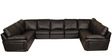 Luciano Half Leather U Shape Sectional Sofa in Dark Brown Colour by HomeTown