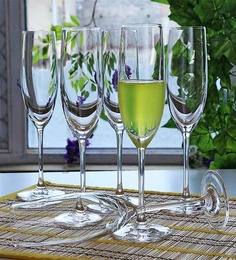 Lucaris Bangkok Bliss Champagne Crystal 180 ML Flute Glasses - Set of 6