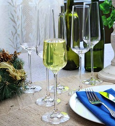 Lucaris Hong Kong Hip Champagne Crystal 270 ML Flute Glasses - Set of 6