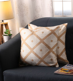 Lushomes Dark Beige Polyester 16 X 16 Inch Jacquard Cushion Covers - Set Of 2