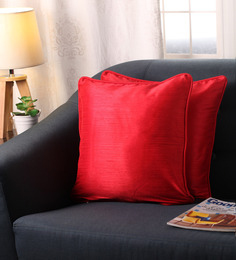 Lushomes Red Polyester 16 X 16 Inch Twinkle Star Cushion Covers With Cord Piping - Set Of 2