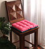 Lushomes Bachelor Button & Raspberry Cotton & Polyester 16 x 16 Inch Half Panama Chair Pad