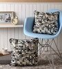 Lushomes Black Cotton 16 x 16 Inch Coins Printed Cushion Covers with Co-Ordinating Cord Piping - Set of 2