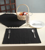 Lushomes Black Cotton Ribbed Placemats - Set of 6