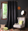Lushomes Black Polyester 108 x 54 Inch Plain Blackout Long Door Curtain with 8 Metal Eyelets - Set of 2