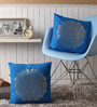 Lushomes Blue Cotton 16 x 16 Inch Cushion Covers with Gold Foil Print - Set of 2