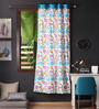 Lushomes Blue Cotton 90 x 54 Inch Flower Printed Door Curtain with 8 Eyelets & Plain Tiebacks - Set of 2