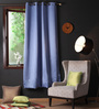 Lushomes Blue Polyester 54 x 90 Inch Plain Blackout Door Curtain with 8 Metal Eyelets - Set of 2