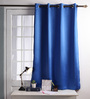 Lushomes Blue Polyester 60 x 54 Inch Plains Blackout Windows Curtain with 8 Metal Eyelets - Set of 2