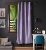 Lushomes Blue Polyester 90 x 54 Inch Twinkle Star 8 Eyelets Door Curtain with Blackout Lining - Set of 2