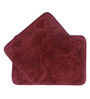 Lushomes Brown Cotton Bath and Toilet Mat - Set of 2