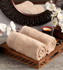 Lushomes Brown Cotton 16 x 26 Hand Towel - Set of 2