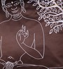 Lushomes Brown Polyester 16 x 16 Inch Embroidered Buddha Blackout Cushion Cover