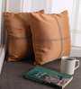 Lushomes Coffee Blackout Polyester 12 x 12 Inch Cushion Cover with Artistic Stitch - Set of 2