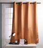 Lushomes Coffee Polyester 60 x 54 Inch Plain Blackout Windows Curtain with 8 Metal Eyelets - Set of 2