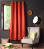 Lushomes Maroon Polyester 90 x 54 Inch Plain Blackout Door Curtain with 8 Metal Eyelets - Set of 2