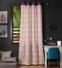 Lushomes Multicolour Cotton 108 x 54 Inch Rain Printed Long Door Curtain with 8 Eyelets & Plain Tiebacks - Set of 2