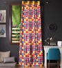 Lushomes Multicolour Cotton 108 x 54 Inch Titac Printed Long Door Curtain with 8 Eyelets & Plain Tiebacks - Set of 2