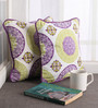 Lushomes Multicolour Cotton 12 x 12 Inch Bold Printed Cushion Covers with Co-Ordinating Cord Piping - Set of 2
