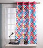 Lushomes Multicolour Cotton 60 x 54 Inch Square Printed Windows Curtain with 8 Eyelets & Plain Tiebacks - Set of 2