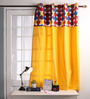 Lushomes Multicolour Cotton 60 x 54 Inch Titac Printed Bloomberry Windows Curtain with 8 Eyelets & Printed Tiebacks - Set of 2