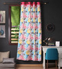 Lushomes Multicolour Cotton 90 x 54 Inch Circles Printed Door Curtain with 8 Eyelets & Plain Tiebacks - Set of 2