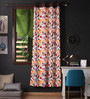 Lushomes Multicolour Cotton 90 x 54 Inch Leaf Printed Door Curtain with 8 Eyelets & Plain Tiebacks - Set of 2