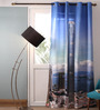 Lushomes Multicolour Polyester 54 x 90 Inch Digitally Printed Skyscraper Blackout Door Curtains - Set of 2